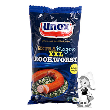 Unox Extra magere rookworst XXL smoked sausage extra lean 375g